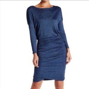 Michael Stars Blue Shine Long Sleeve Ruched Dress